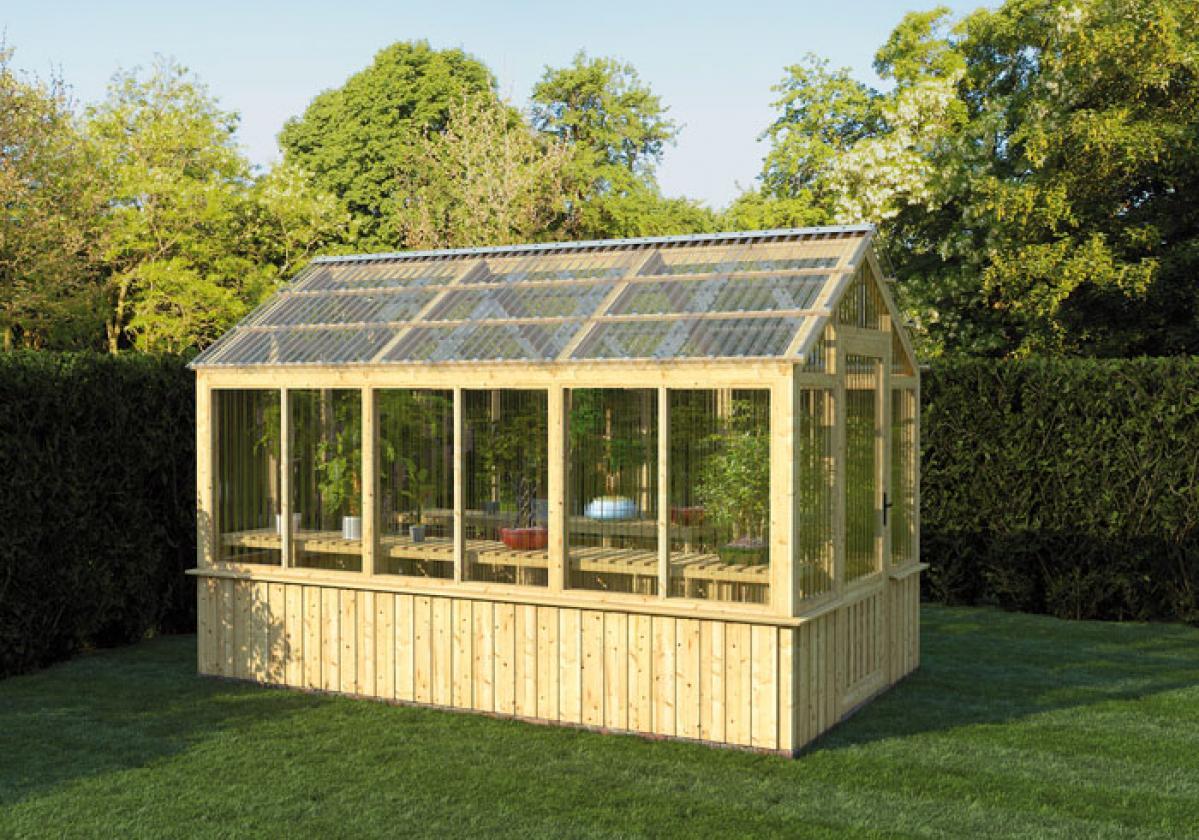 Piccola serra da giardino con copertura e pareti in Onduclair PC