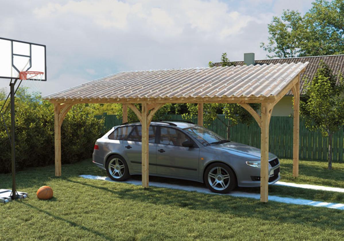 Elegante carport con struttura in legno e copertura Onduclair PC