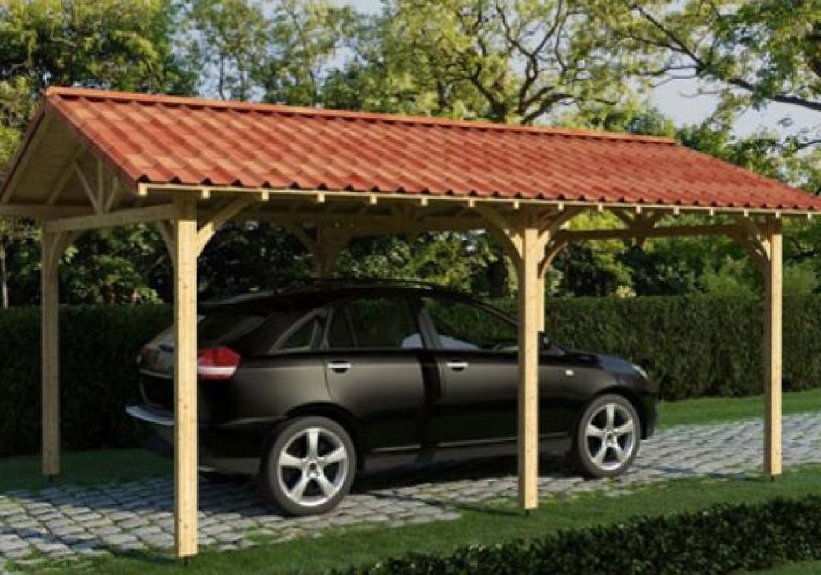 Carport con copertura in tegole Onduvilla